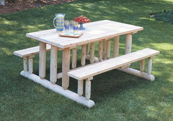 36 best images about things made with wood on pinterest for Rustic picnic table plans