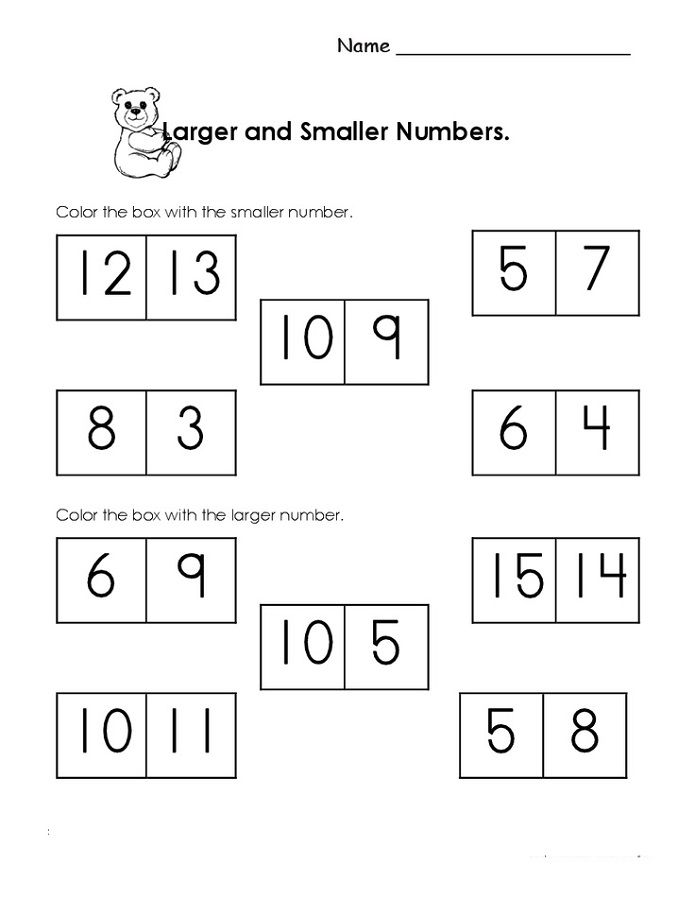 Homeschool Printable Worksheets Kindergarten Worksheets Number Worksheets Kindergarten Comparing Numbers Kindergarten Big and small numbers worksheets for