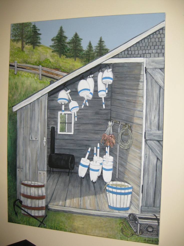 Painting of Nova Scotia Fish House in Hampton. Circa late 1950's early 60's . Painted by Janet Y