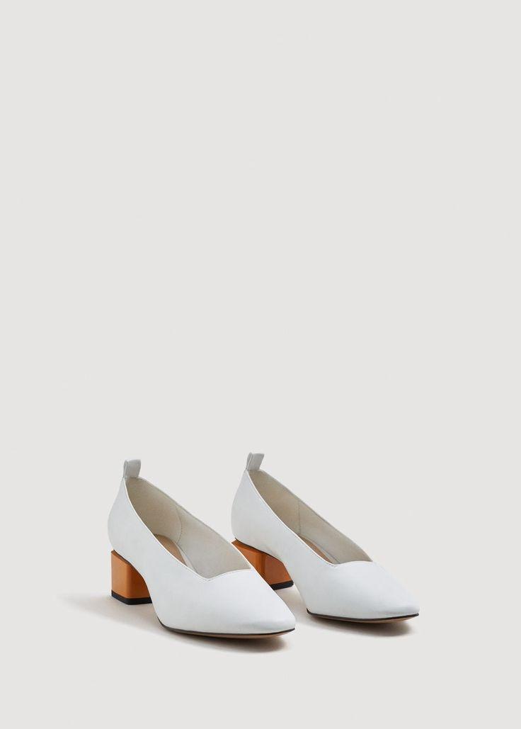 Heel leather shoes - Woman | MANGO Bulgaria