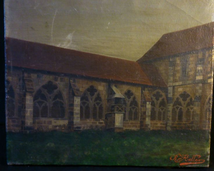 KELLER huile sur toile fin XIX eme ancien tableau Cathédrale Eglise signature