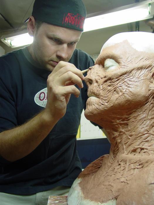 Joel Harlow at work, sculpting character makeup.