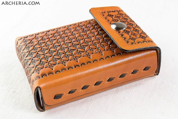 Punziertes Leder Zigarettenetui geometrisches Muster Ornament