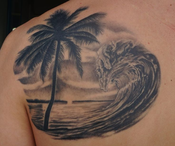 Left back shoulder palm beach tattoo a bit of ink for Beach sunset tattoos
