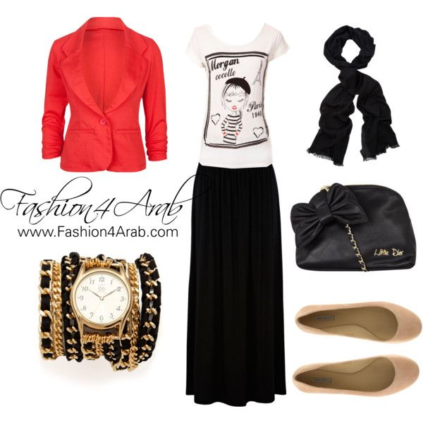 """Hijab style inspiration: red blazer"" by fashion4arab on Polyvore"