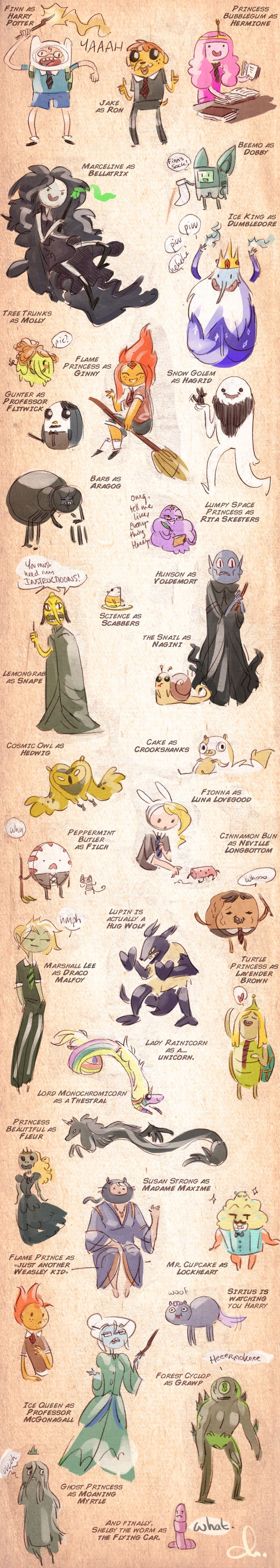 Adventure time + Harry Potter. this sort of works and sort of doesnt (doesnt work in the fact that hermione and ron are supposed to end up together...)