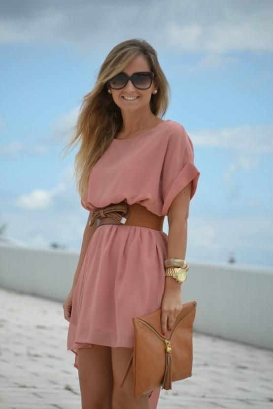 Dusty Pink Dress and Brown Accents. Has nothing to do with wedding, but it looks like a beach outfit