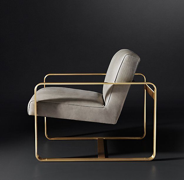 "RH Modern's Miles Leather Chair:With its high-polish ribbon frame and upholstered seat, our chair merges midcentury rigor with Hollywood glamour. Openwork lines and a low back lend it a spare silhouette, its raked seat ""floating"" within the frame."