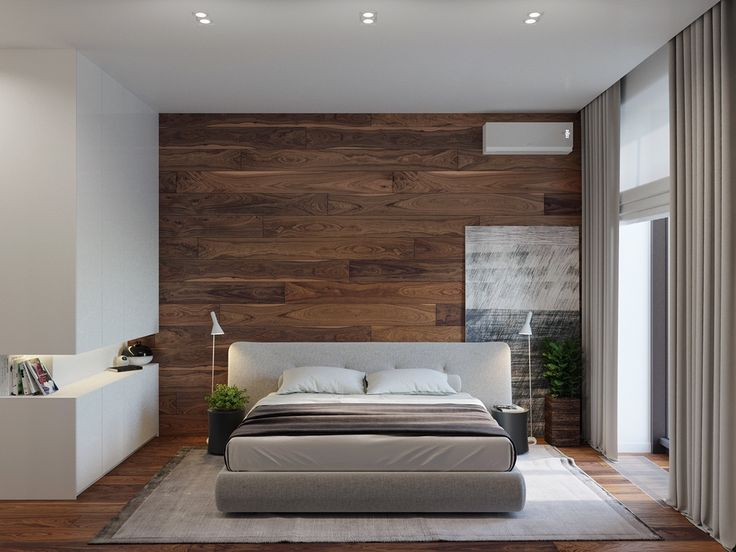 Large wood feature wall grey charcoal bed rustic modernity