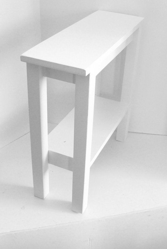 Narrow Side Table Or End Table White Modern Custom Size With