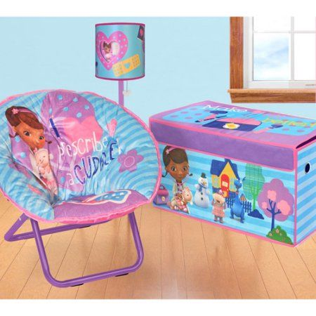 Disney - Doc Mcstuffins Bedroom/Playroom Accessories Set including a Lamp, Storage Trunk and a Saucer Chair - Value Bundle, Assorted