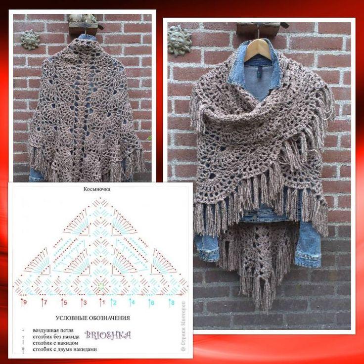 Mooie omslagdoek met Tweed garen van Zeeman haaknaald 6