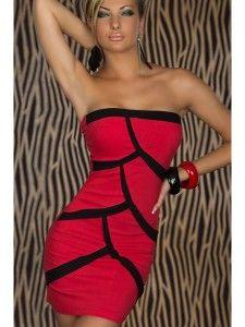 Vestido de noche rojo y dibujo en negro.