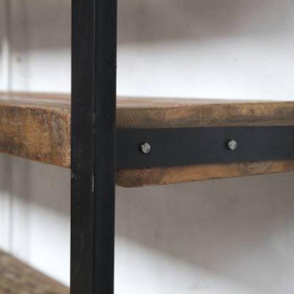 Industrie Bücherregal B 150 cm Metall Holz      Auswahl:  1 x Industrie Bücherregal B 150 cm Metall Holz     Material:   Böden: Massivholz (recyceltes Holz)  Gestell: Metall     Farbe:   Böden: Brauntöne Used Look  Gestell: anthrazit...