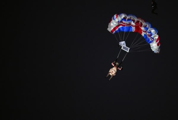 London 2012 Opening Ceremony: 'The Queen' parachutes into the stadium!