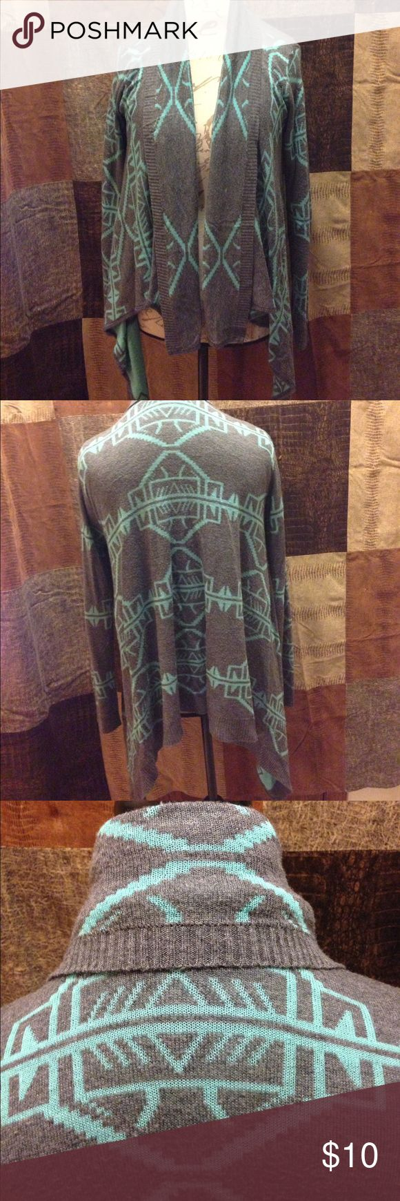 Aztec Print Sweater Cardigan Size Medium Beautiful Blue and Grey Aztec Print Cardigan Sweater. You can dress this piece up or down. In Good Used Condition. Tops