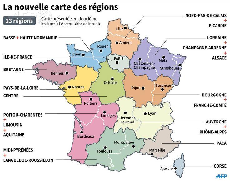 La nouvelle carte des 13 régions