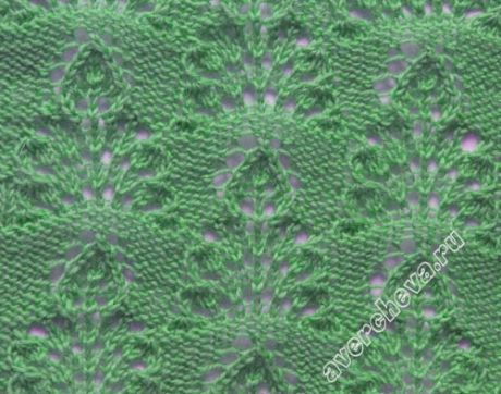 узор 401 ажурные кустики с листочком | каталог вязаных спицами узоров