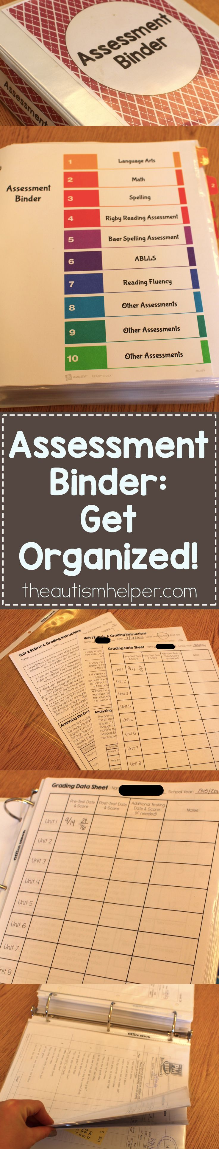 Last year, I shared what was in my assessment binder. This year, I've been helping teachers replicate this system because it worked so well for me! Let's get organized! From theautismhelper.com #theautismhelper