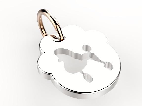 Impronta cagnolino barboncino..  Ciondolo realizzato in argento rodiato e oro rosa