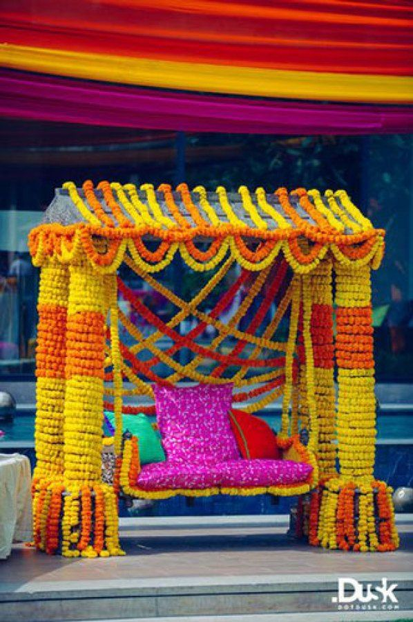 Mehndi Jhoola Decoration : Bridal bed to the mehndi swing seat ideas from