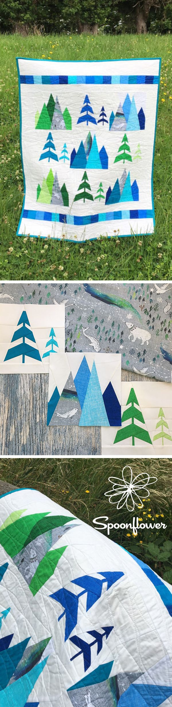 Proof That It IS Possible to Fall in Love with a Quilt - When we first laid eyes on Kristy Lea's swoon-worthy quilt inspired by Nouveau Bohemian's design Arctic Song, you could say it was love at first sight—and for Kristy too! Pulling inspiration from the cool colors, the movement of the trees and the arctic animals frolicking about in Esther's design, Kristy knew that a quilt incorporating Arctic Song couldn't use just any quilt block pattern. #quilt #quilting #ilovequilting #howtoquilt…