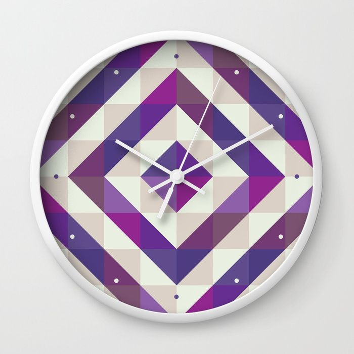 Patchwork Purples Wall Clock by Fimbis    Ultra violet, purple, interior design, home decor, fashionista, symmetry, fashion, time,
