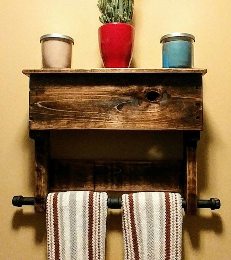 rustic towel rack pallet wood industrial urban things. Black Bedroom Furniture Sets. Home Design Ideas