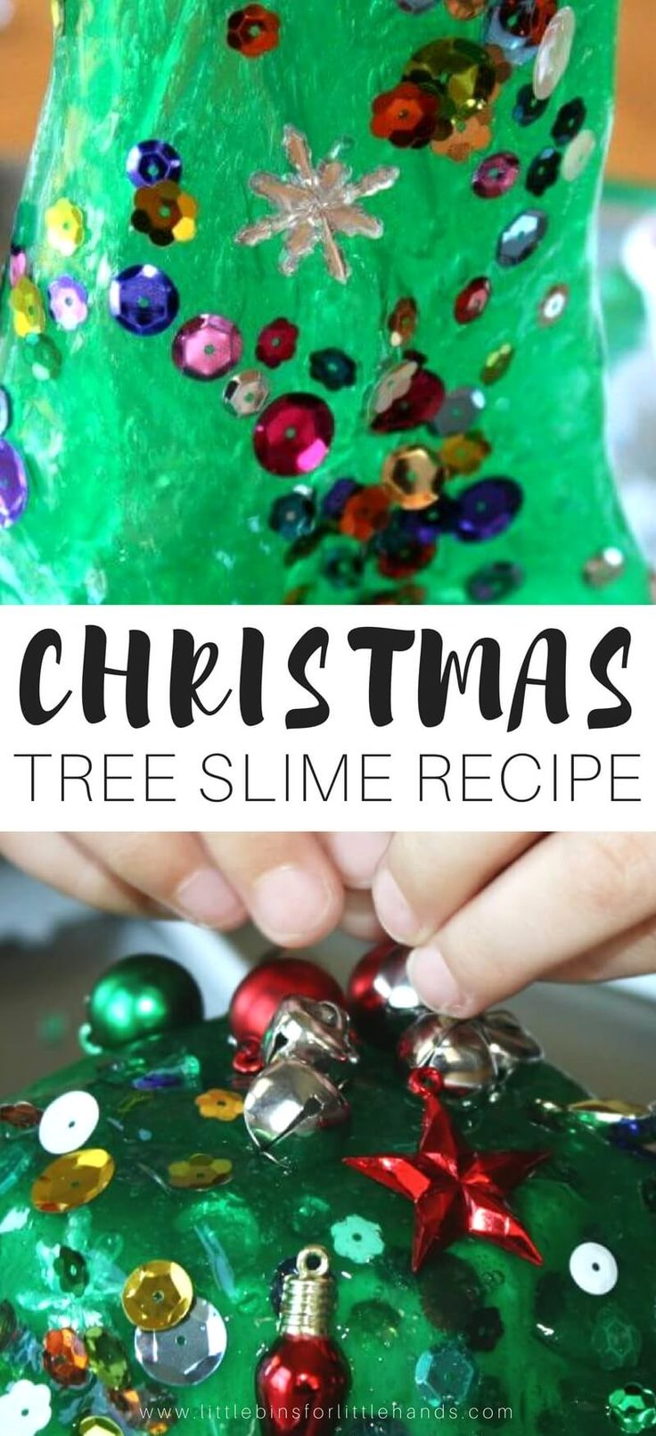 Make a Christmas tree out of slime for perfect Christmas science with our Christmas tree homemade slime! Slime is a pretty fun activity for kids and it's so easy to make. Our easy slime recipe lends itself to so many themes for the holidays and seasons! Try this fun Christmas tree themed homemade slime for the holidays and learn how to make homemade slime year round! #slime #slimerecipe #christmasslime #homemadeslime #science