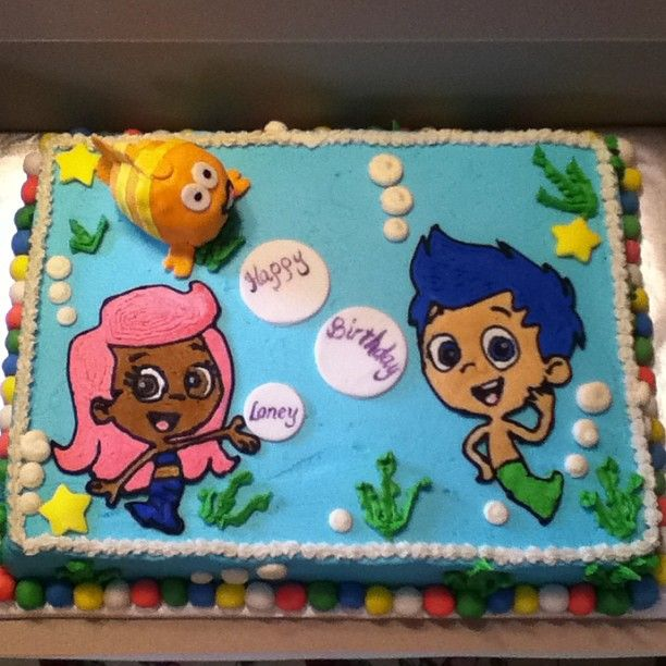 Birthday Cakes - Bubble Guppies cake, characters are an icing transfer ...