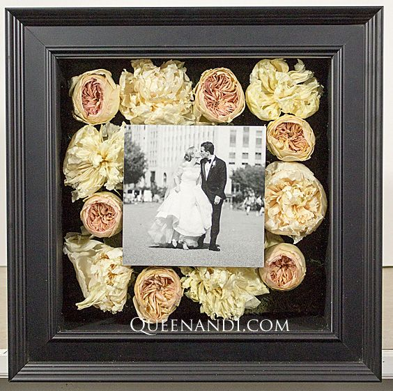 Transform your wedding flowers into a lasting work of art! The Dietrick Wedding shadowbox showcases @larsonjuhl frame - Brooklyn Black, @NielsenBainbridge mat - Matte Black (background). #queenandi #floralpreservation #weddingflowers