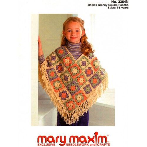 Mary Maxim Child S Granny Square Poncho Pattern 3 99