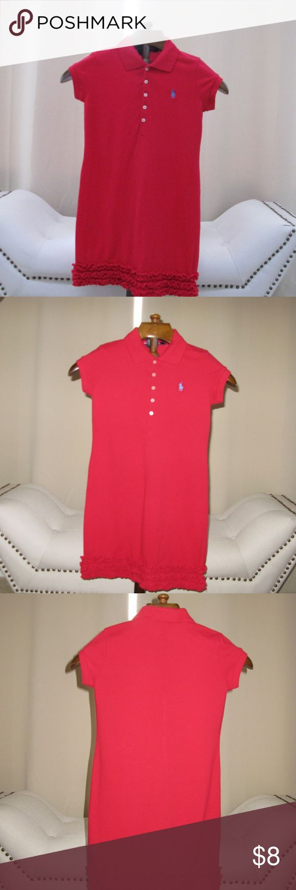Girls IZOD Collared dress with ruffle Ready for School in this smart look.  IZOD Cherry Red Izod dress with button down collar and straight skirt with ruffle bottom.  This makes for a stylish, effortless look. Size on label 8/10. Izod Dresses Casual