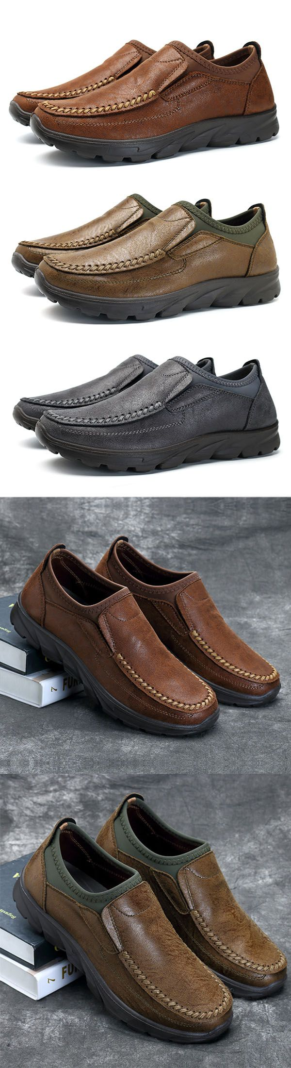 Men Hand Stitching Soft Sole Microfiber Leather Slip On Oxfords. #mens
