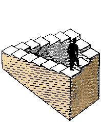 Perpetually ascending staircase: How can the man go up all the time? Can such a staircase be built as a real object?