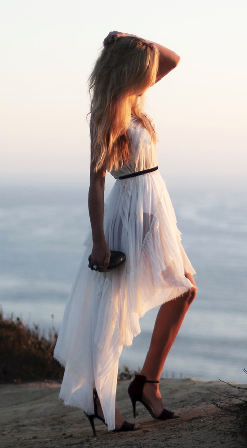 layered pleated dress: Pretty Dresses, High Low Dresses, Fashion, Highlow, Street Style, Alexander Mcqueen Clutches, White Dress, Sewing Ideas, The Mode
