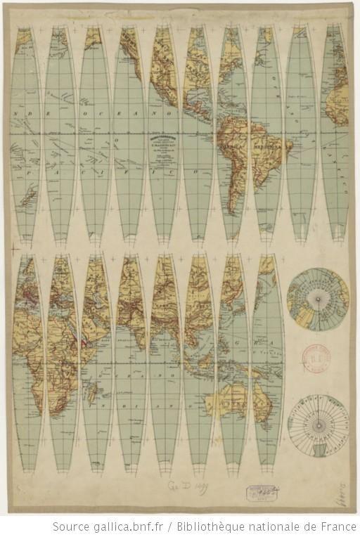 Globe terrestre tascabile... 1/ 70 000 000. A. Deniede incisore e disegnatore geografico - 1892