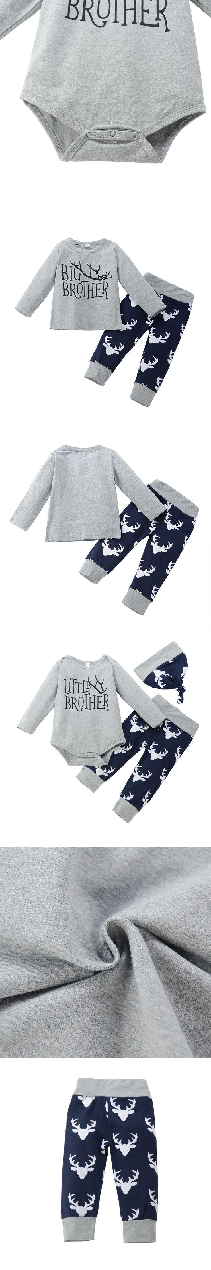 Brother Clothes Set Xmas Newborn Baby Boys Romper Boyss T-shirt Tops +Deer Pants Leggings Outfits Family Set