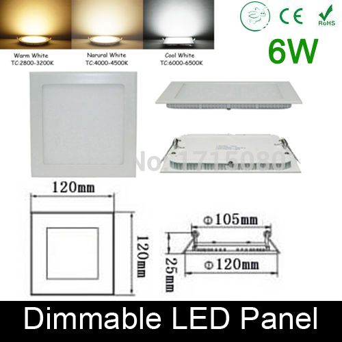 Ultra thin Dimmable 6W LED panel light  flat square LED Recessed ceiling down light 4000K for home luminaria lighting lamp