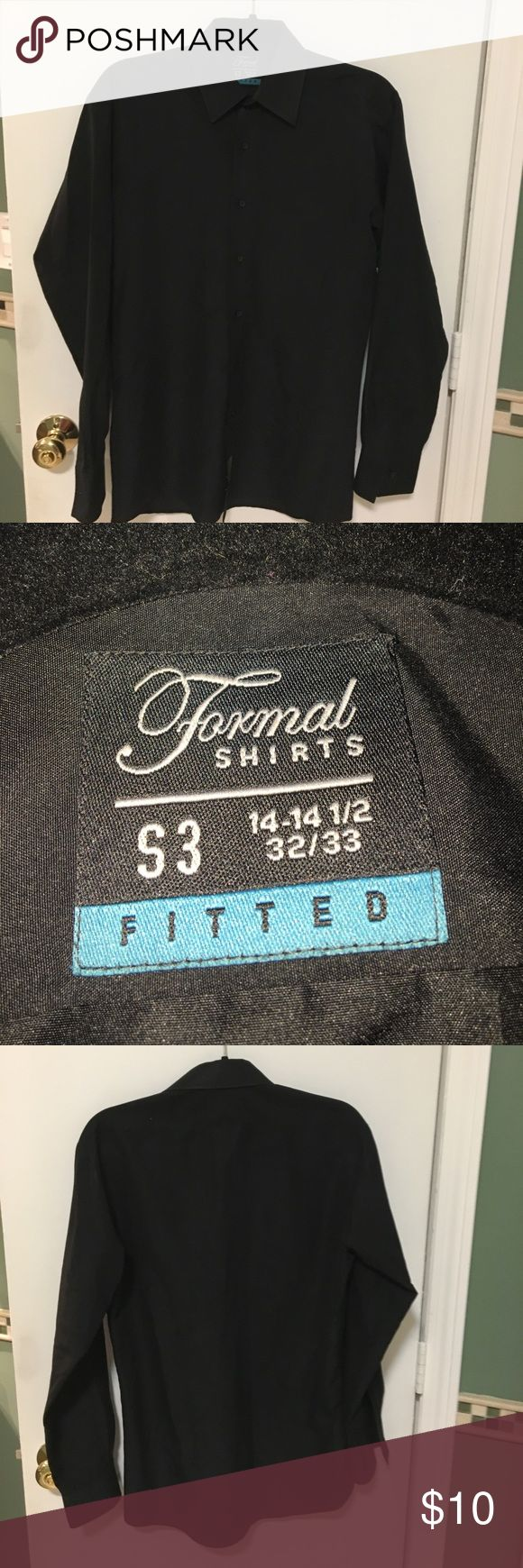 Formal Shirts - Black Tuxedo Shirt -Formal Shirts, Black tuxedo shirt - it can really be treated just as a dress shirt  -Fitted -100% Polyester  -Great condition - Pet and smoke-free home Formal Shirts Shirts Dress Shirts