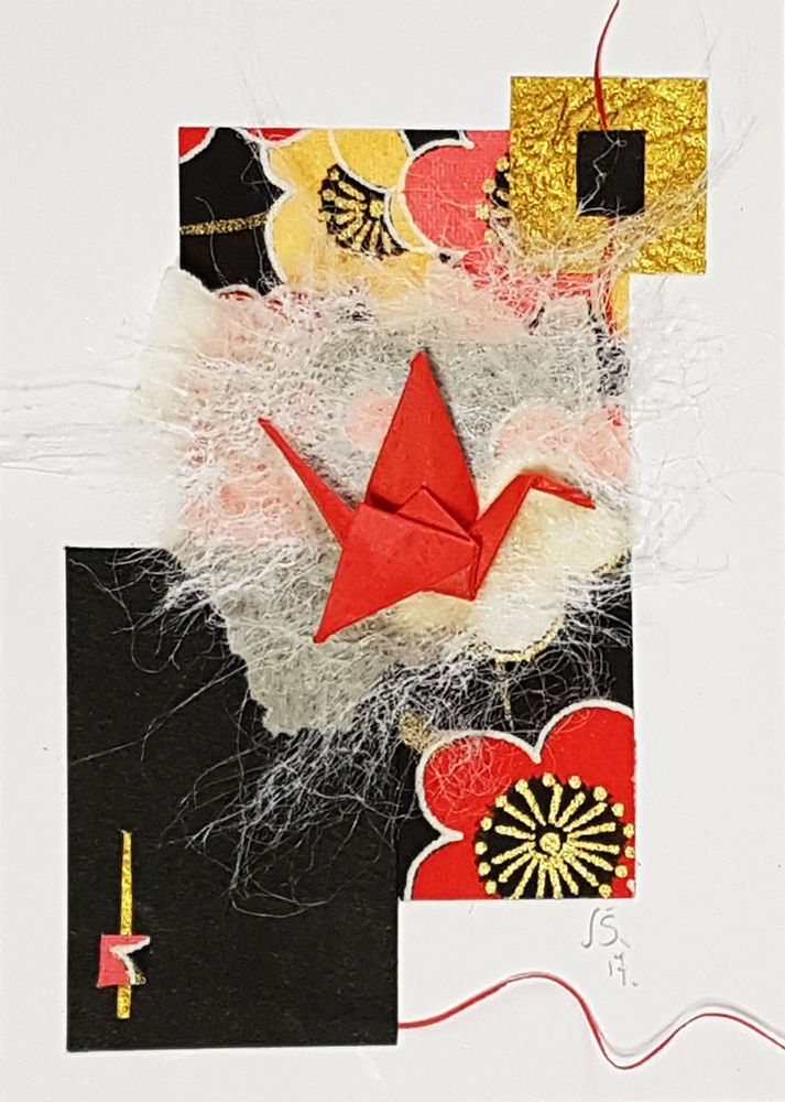 ACEO Origami Red Cranes-Paper Collage-Small Wall Art-ORIGINAL Not a PRINT-JUL  #Miniature 折り紙 コラージュ