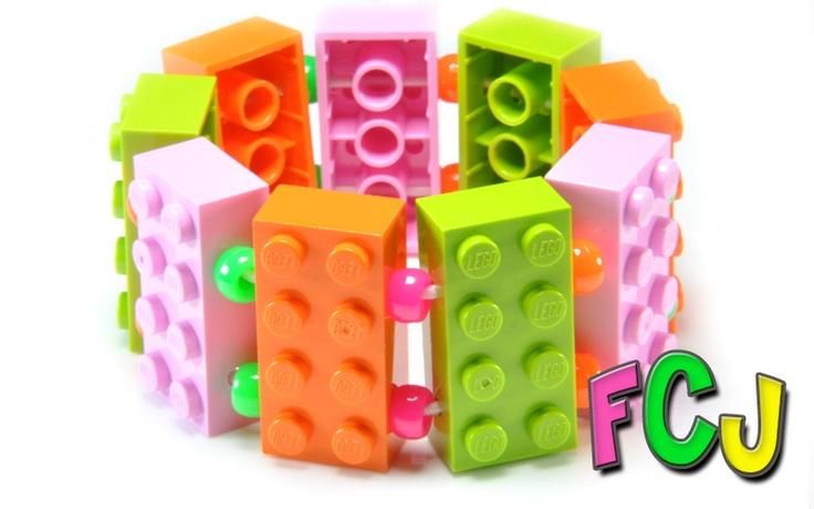 Lego Bracelet - Pink, Lime & Orange