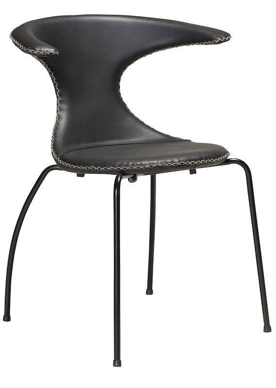 Flair+Spisebordsstol+-+Sort+-+Smuk+spisebordsstol+i+klassisk+dansk+design+med+sort+læder+og+sorte+ben.+Spisebordsstolen+har+et+buet+ryglæn,+som+giver+en+god+siddekomfort+samt+armlæn.+Meget+stilfuldt+design+til+dit+spisebord+i+køkkenet+eller+i+spisestuen.+