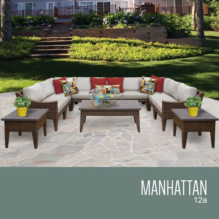 """Manhattan 12 Piece Outdoor Wicker Patio Furniture Set 12a. The contemporary design of our Manhattan Collection creates a transitional style that can blend with any décor. The rich colors of the wicker and extra details on the frame also include a thick 6"""" cushion that will surely enhance the experience of relaxation and sophistication.Features:CUSHIONS - 6 inches thick for a luxurious look and feelCUSHION COVERS - Washable and zippered for easy cleaning (air dry only)FEET LEVELERS - Height…"""
