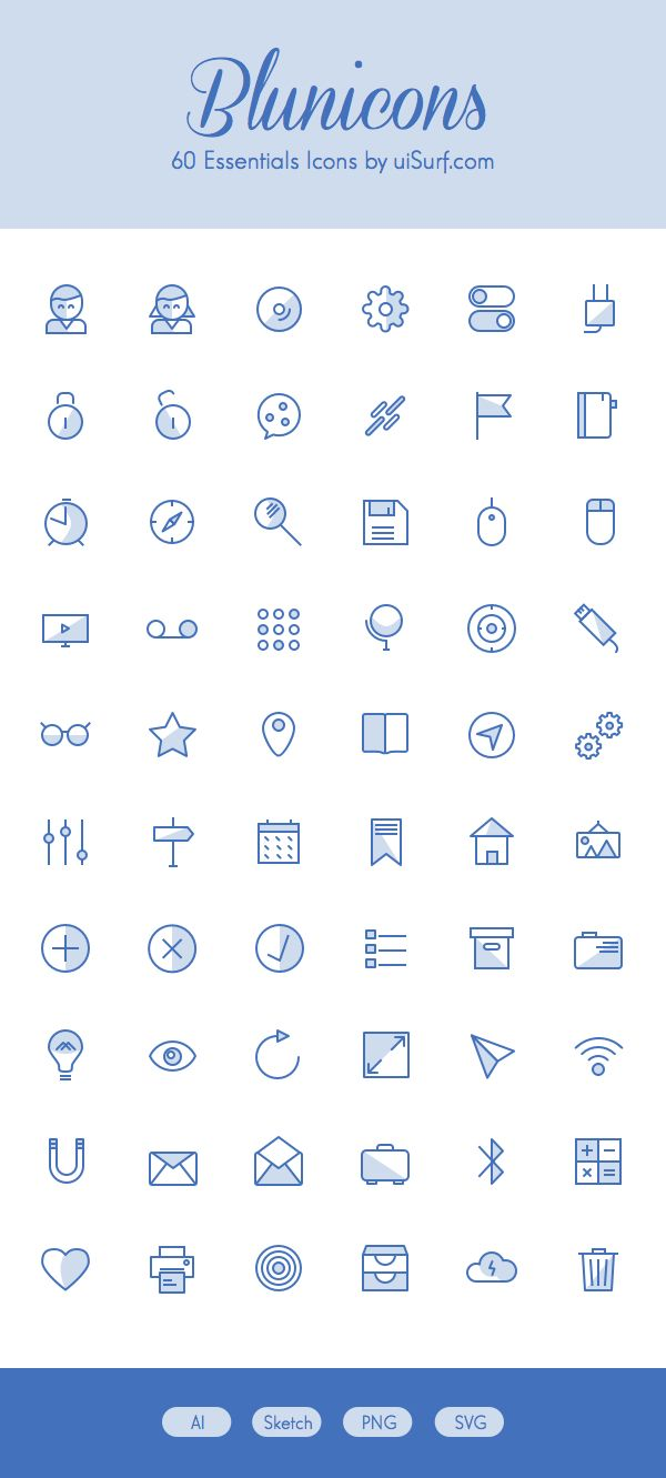 Blunicons – 60 Essentials Icons | GraphicBurger