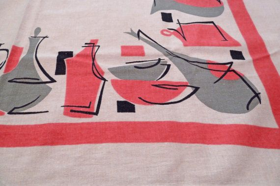 Pink Gray and White MidCentury Tablecloth or by KitschyVintage, $24.00