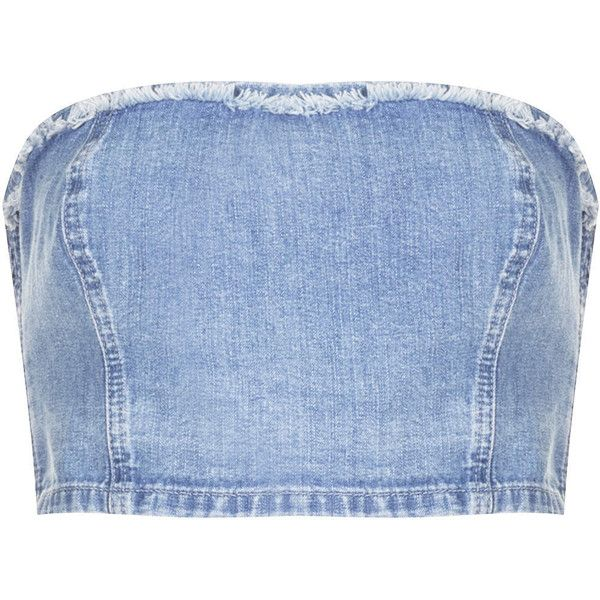 TOPSHOP MOTO Denim Fray Bandeau ($12) ❤ liked on Polyvore featuring tops, crop tops, shirts, bleach stone, cropped tops, bandeau shirt, blue denim shirt, shirt crop top and bandeau shirt tops