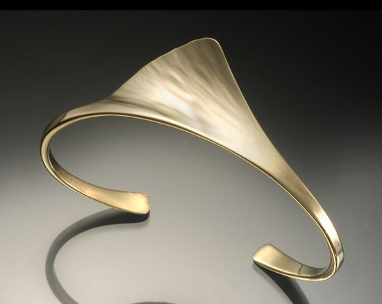"Cuff | Stephen LeBlanc. ""Ginkgo"":   In 18k gold or Sterling silver."