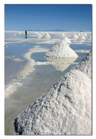 BOLIVIA - Salar de Uyuni - At 4,086 sq miles, this is the world's largest salt flat. It is also a major breeding ground for several types of pink flamingos.