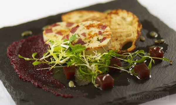 Smoked Duck oudin with Beetroot puree and fig jelly  #Tastebudladies #Duck